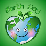 Cute cartoon hearts earth with leafs on green background. Royalty Free Stock Photos