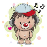 Cute cartoon Hedgehog with headphones royalty free illustration