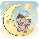 Cute Cartoon hedgehog on the moon Stock Photography