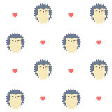 Cute cartoon hedgehog seamless vector pattern background illustration vector illustration