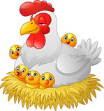 Cute cartoon hen with chickens sitting in a nest. Illustration of Cute cartoon hen with chickens sitting in a nest Stock Photo
