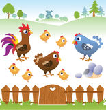 Cute cartoon hen, rooster and chicken with landscape. Royalty Free Stock Photography