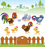 Cute cartoon hen, rooster and chicken with landscape. Stock Photo