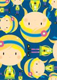 Cute Cartoon Hippie Pattern royalty free illustration