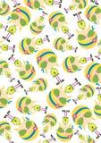 Cute Cartoon Hippie Pattern vector illustration