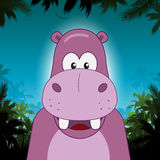 Cute cartoon hippo in front of jungle background Stock Image