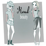 Cute cartoon hipster girls Royalty Free Stock Photography