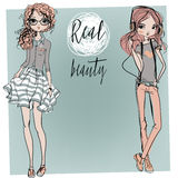 Cute cartoon hipster girls Royalty Free Stock Images