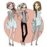 Cute cartoon hipster girls. Cute fashion cartoon girls in sketchy style Royalty Free Stock Photo