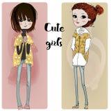Cute cartoon hipster girls Stock Photos