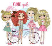 Cute cartoon hipster girls. Cute fashion cartoon girls in sketchy style Stock Images