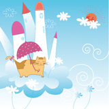 Cute cartoon holiday card Royalty Free Stock Photography