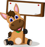 Cute cartoon horse with blank sign Royalty Free Stock Images