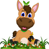 Cute cartoon horse on flower garden Stock Images