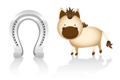 Cute cartoon horse whit horseshoe Royalty Free Stock Photo