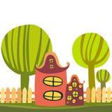 Cute cartoon house. Cute colorful cartoon house - illustration Stock Image
