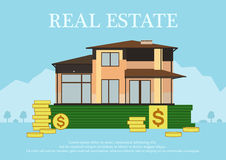 Cute cartoon house for sale or rent in flat building style staing on money. sign real estate.Background in blue pastel Royalty Free Stock Images