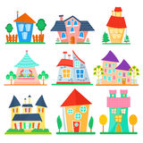 Cute cartoon houses collection. Funny colorful kid vector house set. Royalty Free Stock Images