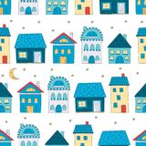 Seamless pattern with cute cartoon houses Royalty Free Stock Photo
