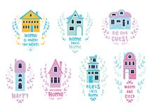 Cute cartoon houses stock illustration