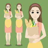 Cute cartoon housewife with a bag of food Royalty Free Stock Photos