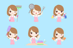 Cute cartoon housewife Stock Images