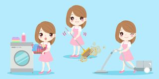 Cute cartoon housewife. Do work on the blue background Royalty Free Stock Images
