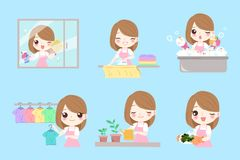 Cute cartoon housewife. Do work on the blue background Stock Photo