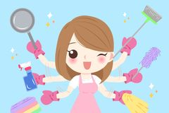 Cute cartoon housewife. Do work on the blue background Royalty Free Stock Photo