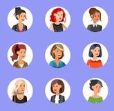 Cute cartoon human avatars set Stock Images
