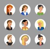 Cute cartoon human avatars set Stock Photos