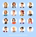 Cute cartoon human avatars set Stock Image