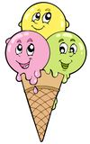 Cute cartoon ice cream Stock Images