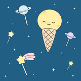 Cute cartoon ice cream moon and lollipop stars and planets illustration Royalty Free Stock Images