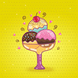 Cute cartoon ice cream Royalty Free Stock Photo