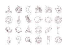 Cute cartoon icons on science, school, study theme. Physics, chemistry, astronomy and other sciences - vector. Illustrations of icons for children. Back to vector illustration