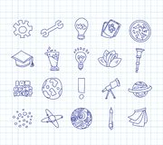 Cute cartoon icons on science, school, study theme. Physics, chemistry, astronomy and other sciences - vector. Illustrations of icons for children. Back to stock illustration
