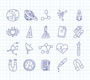 Cute cartoon icons on science, school, study theme. Physics, chemistry, astronomy and other sciences - vector. Illustrations of icons for children. Back to royalty free illustration