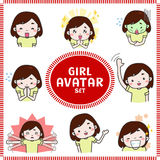 Cute cartoon illustration of girl and woman avatar icon set 1 royalty free illustration