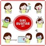 Cute cartoon illustration of girl and woman avatar icon set3 stock illustration