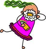 Little Girl Brushing Her Teeth royalty free illustration