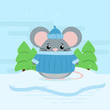Cute cartoon illustration of mouse on snowdrift and forest. Cold weather with snow. Flat vector design Stock Photography