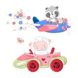 Cute cartoon illustration set transport airplane and car convertible style hand drawing. stock illustration