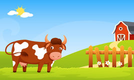 Cute cartoon illustration of a smiling cow Royalty Free Stock Image