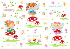 Hello Spring - Adorable little fairies and spring garden royalty free illustration