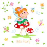 Hello Spring - Adorable little fairy and spring garden stock illustration