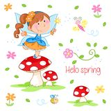 Hello Spring - Lovely little fairy and spring garden vector illustration