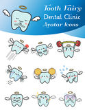 Cute cartoon illustration of tooth fairy avatar icon set. Cute cartoon illustration of tooth fairy avatar icon in various activities and mood set 1. Cute tooth royalty free illustration
