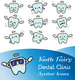 Cute cartoon illustration of tooth fairy avatar icon set. Cute cartoon illustration of tooth fairy avatar icon in various facial expression and mood set 2. Cute Stock Images