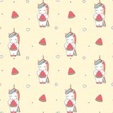 Cute cartoon illustration with unicorn eating watermelon slice seamless vector pattern background illustration. Cute cartoon illustration with unicorn eating Royalty Free Stock Photo